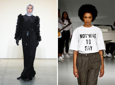 מימין: הסלוגן Nothing to say פותח את התצוגה של Pyer Moss. משמאל: דוגמניות מהגרות בלבד בתצוגה של המעצבת המוסלמית אניסה הסיבואן (צילום: Gettyimages)