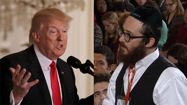 טראמפ והכתב ג'ייק טורקס במסיבת העיתונאים (צילום: רויטרס)