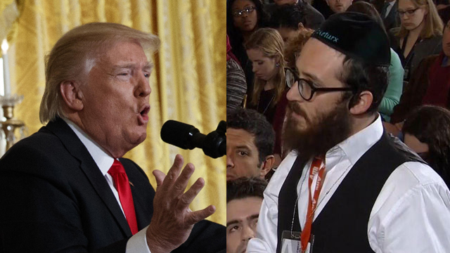 US President Donald Trump and Haredi reporter Jake Turx (Photos: AP, Reuters)
