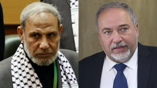Al-Zahar and Lieberman (Photos: AFP, Alex Kolomoisky) (Photos: AFP, Alex Kolomoisky)