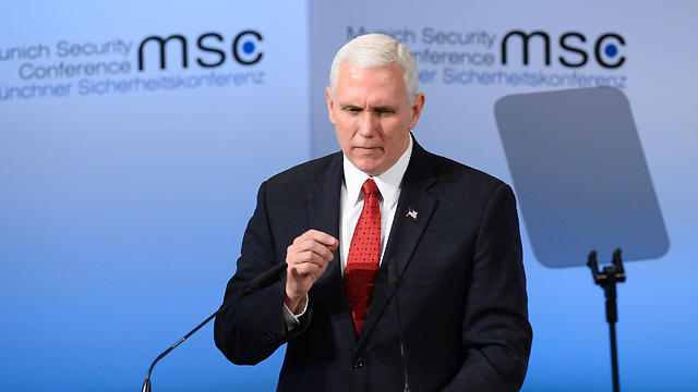 Vice President Mike Pence speaking in Munich (Photo: AFP) (Photo: AFP)