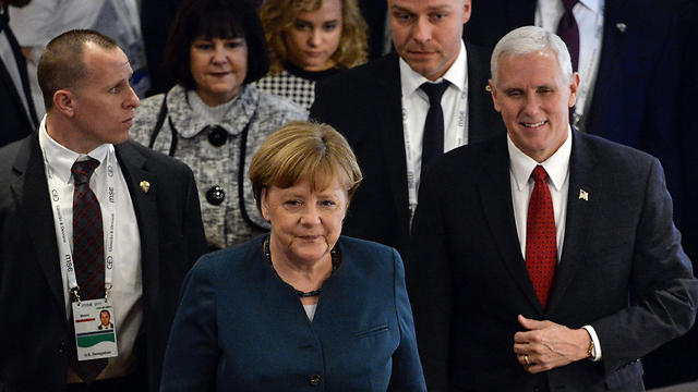 Vice President Mike Pence and German Chancellor Angela Merkel in Munich (Photo: AFP) (Photo: AFP)