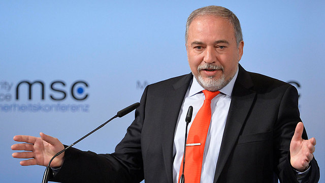 Lieberman speaking at the Munich Security Conference (Photo: EPA)