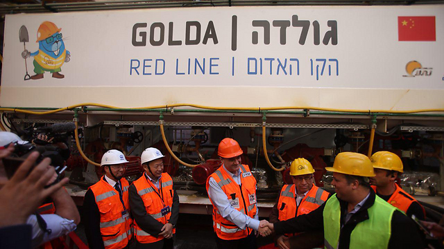 Katz at the ceremony marking the start of work on the Red Line (Photo: Motti Kimchi)