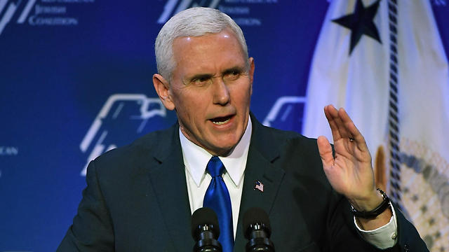 Vice President Mike Pence speaking at the Republican Jewish Coalition (Photo: AFP) (Photo: AFP)