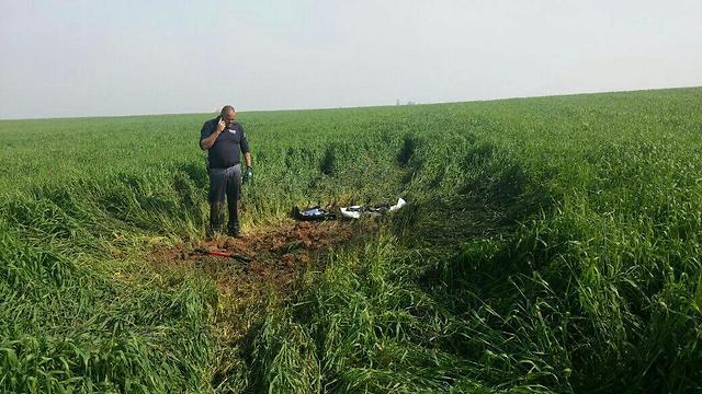 The rocket landing site in Sha'ar HaNegev