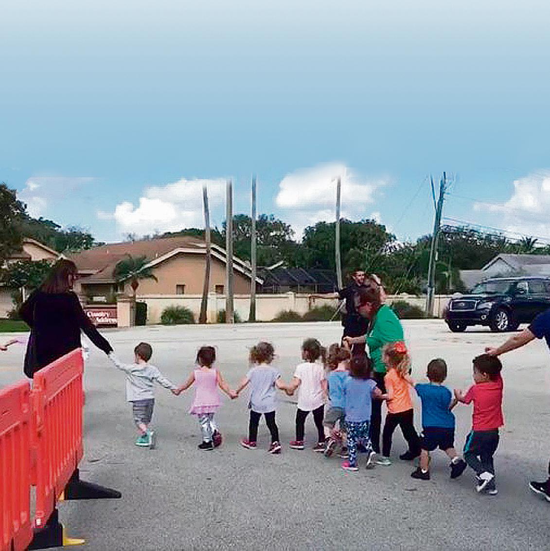 Children evacuated from a Jewish kindergarten in Florida