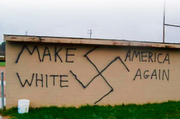 Racist graffiti (Photo: AFP)