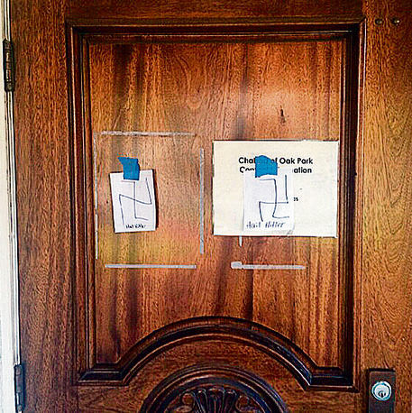 The papers taped to the synagogue door