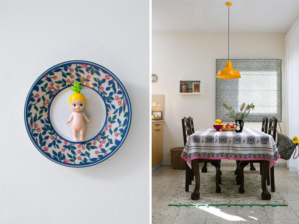 הדירה מלאה בחפצי חן שיוצרת אגמון בעצמה, כמו מקבץ פריטים שמסגרה (בצילום מימין) או צלחת מאוירת ששודכה לבובת פלסטיק קטנה (משמאל) (צילום: שירן כרמל)