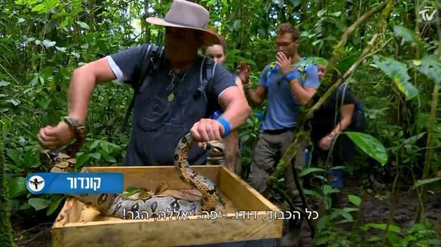 """שימוש בנחשים בתוכנית """"המשימה: אמזונס"""" (צילום מסך)"""