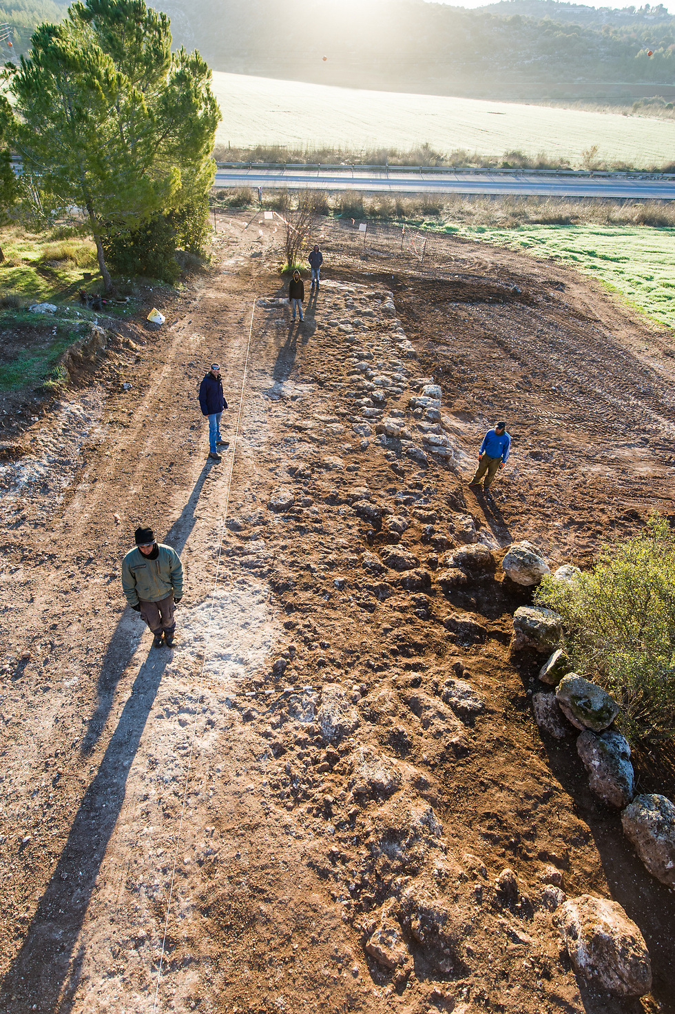 Excavating the Roman road (Photo: Assaf Peretz, courtesy of IAA)