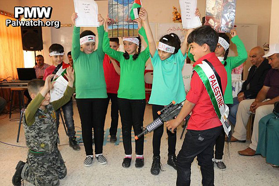 A school in Hebron pretending to kill an IDF soldier