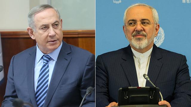 PM Netanyahu (L) and Iranian Minister Zarif (Photo: EPA, Mark Israel Salem)