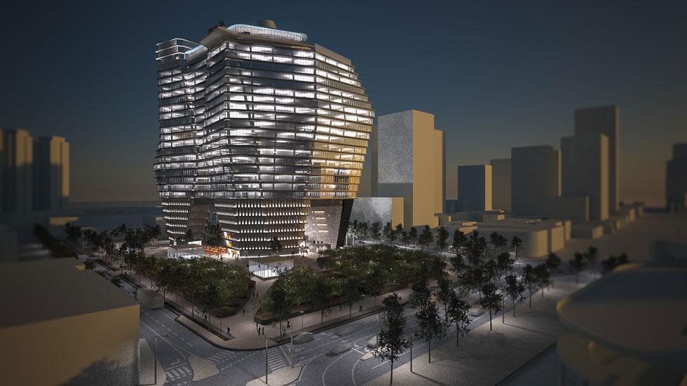 הדמיה לילית של המתחם. האם בניין לא יכול להיות פשוט בניין, אלא מוכרח להיות אייקון? ''אני לא חושב ששום דבר צריך להיות שום דבר'', משיב רון ארד (הדמיה: רון ארד אדריכלים)