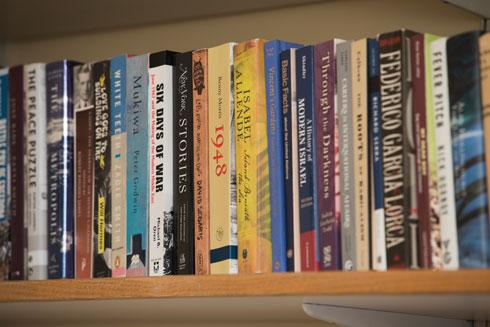 אחד ממדפי הספרים בסלון הפרטי (צילום: טל ניסים)