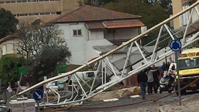 The collapsed crane (Photo: Daniel Shemer)