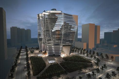 בשורה חיובית: עד שיאשרו את הקמת המגדל הבא (63 קומות), בהינתן שלא יהיו התנגדויות, יוקם למרגלותיו בית גידול לעצים (הדמיה: רון ארד אדריכלים)
