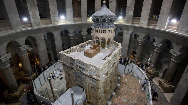 The renovated Edicule is seen in the Church of the Holy Sepulchre (Photo: AP)