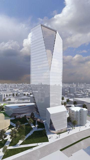 בניין עיריית נתניה, לפי הצעתם של קלוש צ'צ'יק. זכו בתחרות (הדמיה: קלוש צ'ציק אדריכלים בשיתוף קימל אשכולות אדריכלים, K.P.Studio)