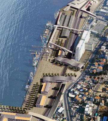 תוכנית חזית הים בחיפה. ''תרגיל טוב'', אומרת שוורץ עליה ( הדמיה: עמי שנער אמיר מן אדריכלים )