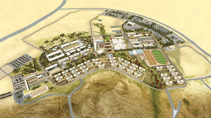 כך זה ייראה: ''עיר-מדבר'' בצומת הנגב. לב המחנה הוא שדרה מרכזית שתקשר בין שתי כיכרות (הדמיה: סטודיו 84)