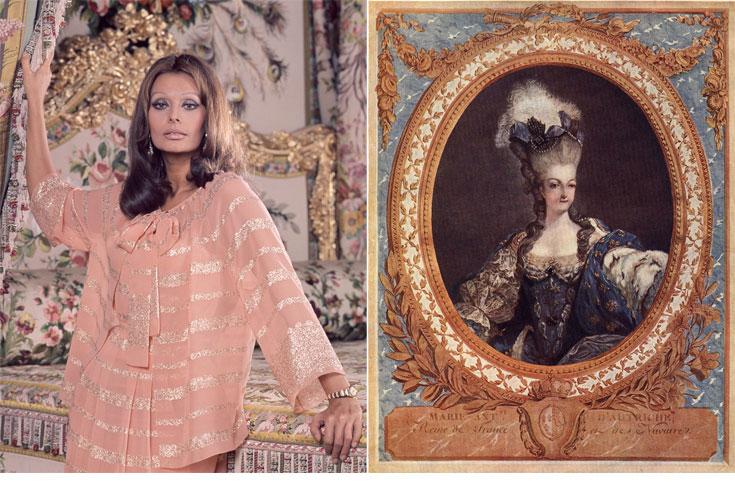 איור של מארי אנטואנט (מימין) וסופיה לורן  בהפקת אופנה בארמון ורסאי. בגדי היוקרה הדקדנטיים תמיד נשארים בתמונה (צילום: gettyimages, rex)