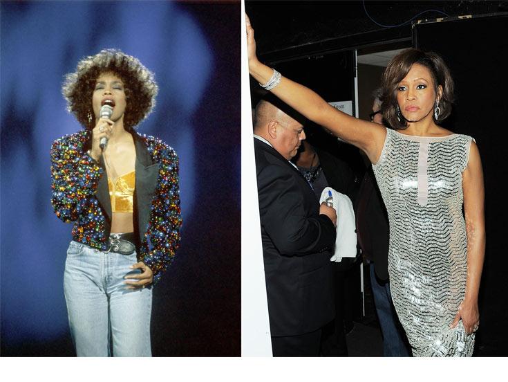 וויטני יוסטון ב-2011 (מימין) ובימי הזוהר בשנות ה-90. מהזמרות האפרו-אמריקאיות הבולטות של המאה ה-20 ( צילום: rex/asap creative, gettyimages )