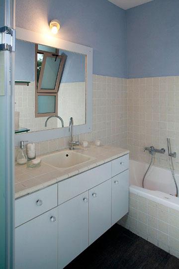 חדר האמבטיה לאחר צביעת הקיר והארון  (צילום: בנימין אדם )