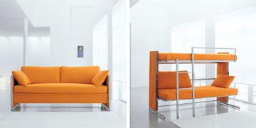 טיפ 7: רהיטים רב שימושיים הם עדיפים. למשל, ספה שהופכת למיטת קומותיים, מבית ''מילאנו בדינג'' (באדיבות CLEI)