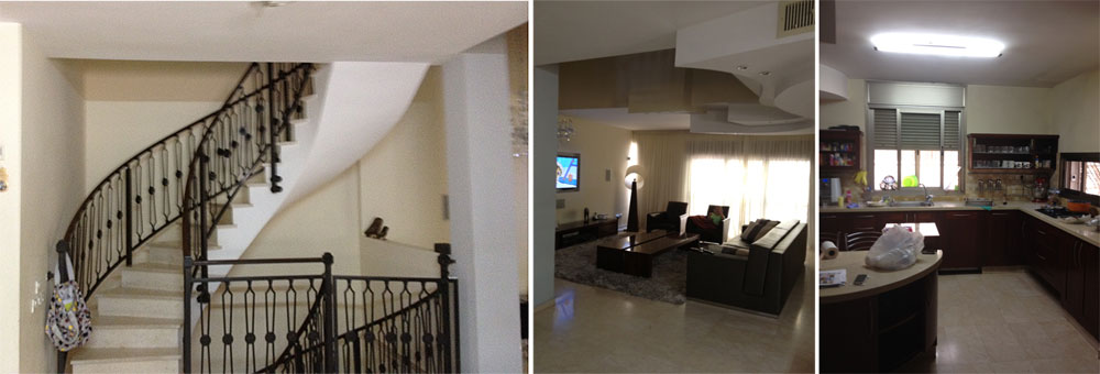 כך נראה הבית לפני השיפוץ: המטבח (מימין), הסלון ומעקה הברזל של המדרגות. הדיירים הרגישו שהבית חשוך מדי (צילום: קרן אופנר)