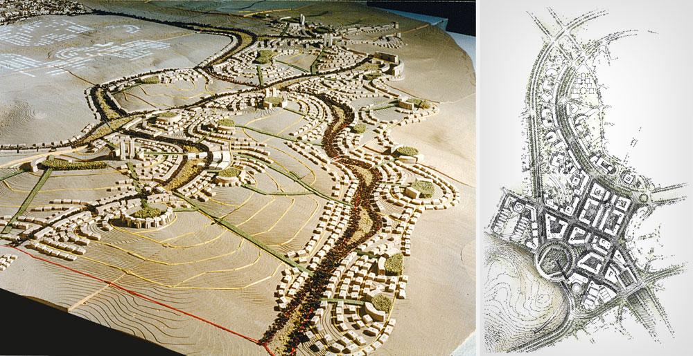 התוכניות, כפי שהן מוצגות בספר החדש ''מודיעין העיר'', ניבאו לעיר גדולות. שלוש ערים נפגעו קשות ממנה: ירושלים, רמלה ולוד (צילום: משה ספדיה אדריכלים)