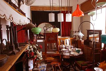 חלל הרהיטים של החנות ורוד ירוק (צילום: גלעד בן-שץ)
