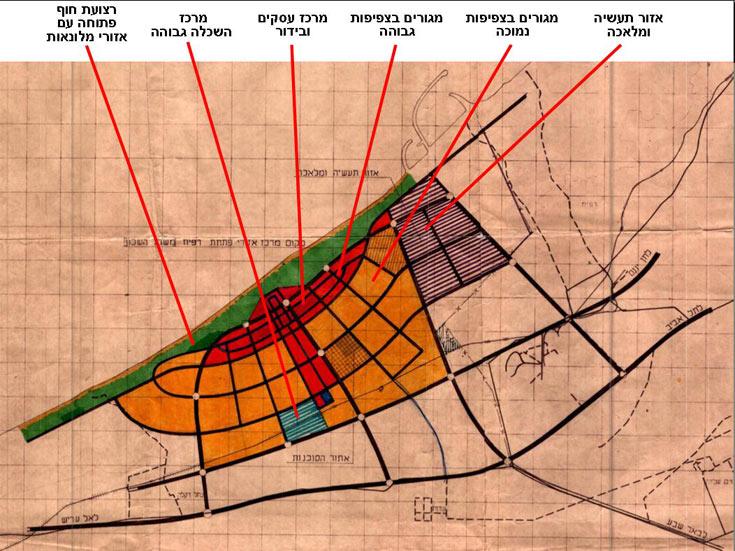תוכנית העיר הורכבה מרצועת חוף פתוחה (בצבע ירוק) ובה כמה אזורים לפיתוח מלונאות (ירוק כהה). הרצועה השנייה (באדום בהיר), שגם חוצה את העיר, התאפיינה בצפיפות גבוהה ובשילוב מוקדי בילוי ומסחר. הרצועה השלישית (כתום) הורכבה מרובעי מגורים בצפיפות נמוכה (רק מחצית מאחד הרובעים הספיקה לקום). בחלק האחורי של העיר (פסים כחולים) תוכנן מתחם למוסדות השכלה גבוהה, ובצפ (באדיבות ארכיון טוביהו באוניברסיטת בן גוריון)