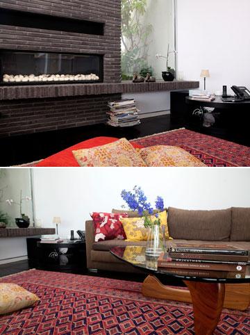 עיצוב בצבעים חמים. דירתה של ברויאר (צילום: ענבל מרמרי)