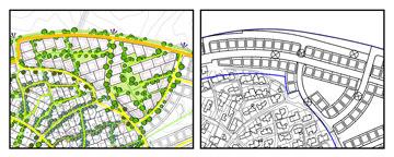מיקומי חניות המכוניות. תופסים הרבה יותר מדי מקום בהרחבות (אדריכל התב''ע: האדריכל יובל יסקי, תכנון נוף: אדריכלית הנוף יעל בר-מאור)