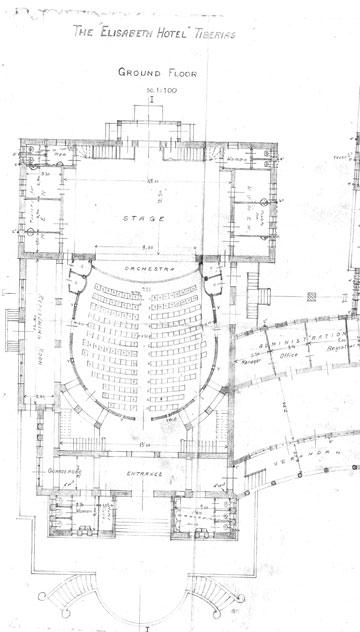 תוכנית אולם הקולנוע. 500 מקומות ישיבה