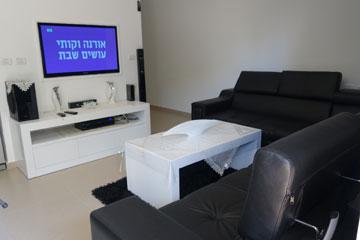הסלון בדירה בת ההשגה של לורן (צילום: מיכאל יעקובסון)