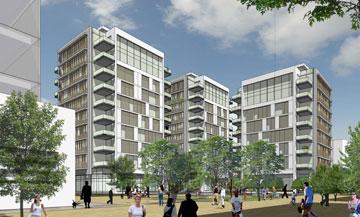 הדמיה של הפרויקט בשוק הסיטונאי. 56 דירות יהיו מוזלות (הדמיה: ישר אדריכלים  )
