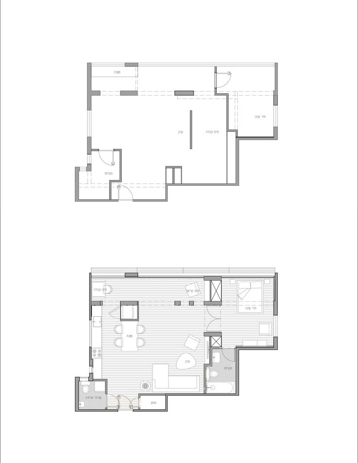 למעלה: תוכנית הדירה ''לפני''. למטה: כל הפנים נהרס, נשארה רק המעטפת (באדיבות עדי פקט)
