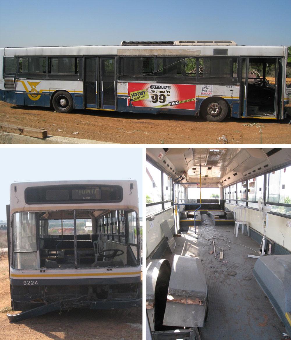 נקודת הפתיחה: אוטובוס ישן והרוס שנקנה במוסך ''דן'', 12 מטרים וחצי אורכו, שני מטרים וחצי רוחבו, חלק אחורי גבוה מהקדמי וגלגלים שבולטים פנימה ( באדיבות טלי שאול וחגית מורבסקי  )