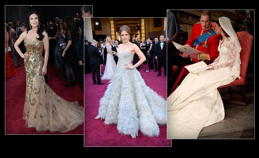 מקורות ההשראה: השמלה של קייט מידלטון ושמלות האוסקר: איימי אדמס (במרכז) וקתרין זטה ג'ונס ( צילום: gettyimages )