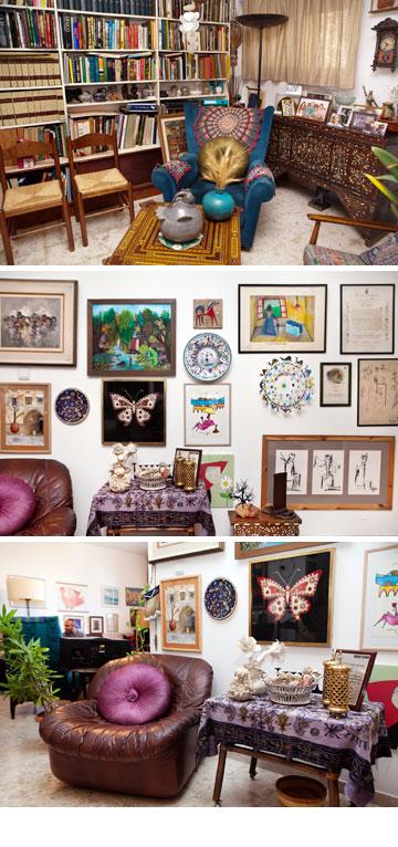 ביתה של רות דיין. מאחורי כל ציור, פסל, מאפרה או פיסת טקסטיל מסתתר סיפור שלם הקשור לחייה הפעלתניים (צילום: ענבל מרמרי)