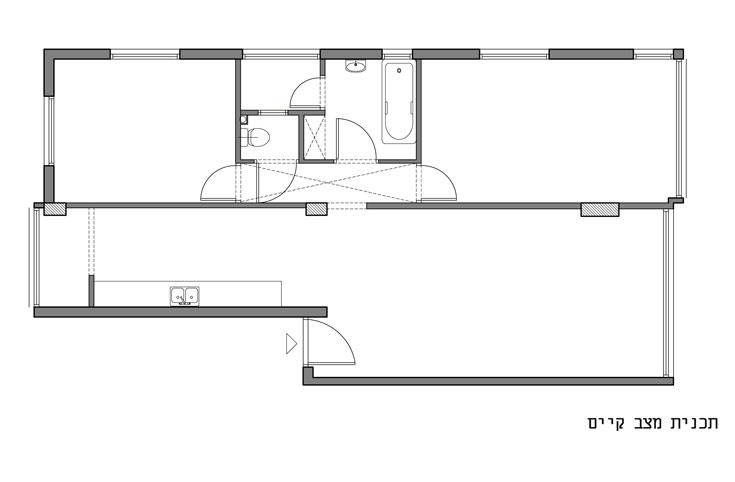 תוכנית הדירה, ''לפני'': צרה וארוכה, עם שתי מרפסות שירות (באדיבות studio 37)