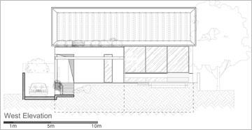 שרטוט של חזית הבית מכיוון הבריכה (תכנון: פז גרש אדריכלים)
