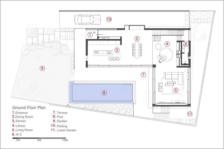 תוכנית קומת הקרקע: משמאל (1) הכניסה. פינת האוכל והמטבח הם במפלס אחד, והספרייה והסלון במפלס גבוה מעט יותר. משמאל לספרייה גרם מדרגות היורד לקומת הבנות ועולה לקומת ההורים (תכנון: פז גרש אדריכלים)
