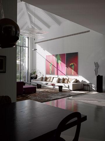 תקרה גבוהה, מנורה של אינגו מאורר וספה אלגנטית (צילום: עמית גרון )