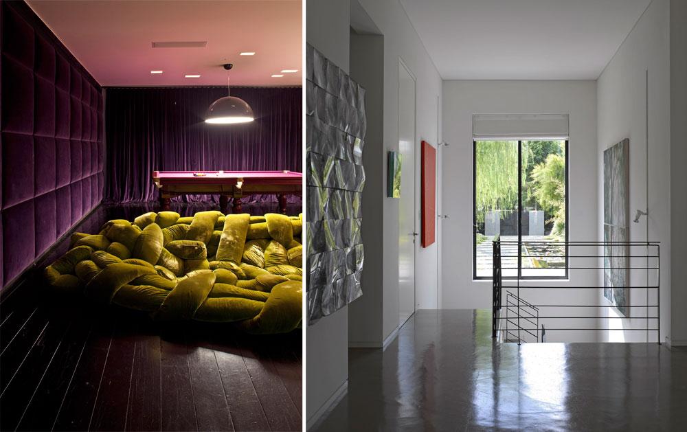 בקומת המרתף חופה אחד הקירות בקטיפה סגולה, ווילון מאותו בד מסתיר חלונות גדולים, שממלאים את החלל באור. על רצפת פרקט כהה הונחה ספת מרבץ ירוקה (''אדרה''), ושולחן ביליארד (צילום: עמית גרון )