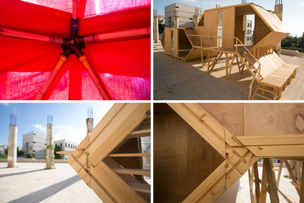 שתי ההצעות: מחסה מיידי לאחר אסון (באדום) ובית המגורים המפותח יותר לשלב השני של ההתארגנות. המחירים אמורים לצנוח אם הפרויקטים יהפכו למסחריים (צילום: דור נבו)