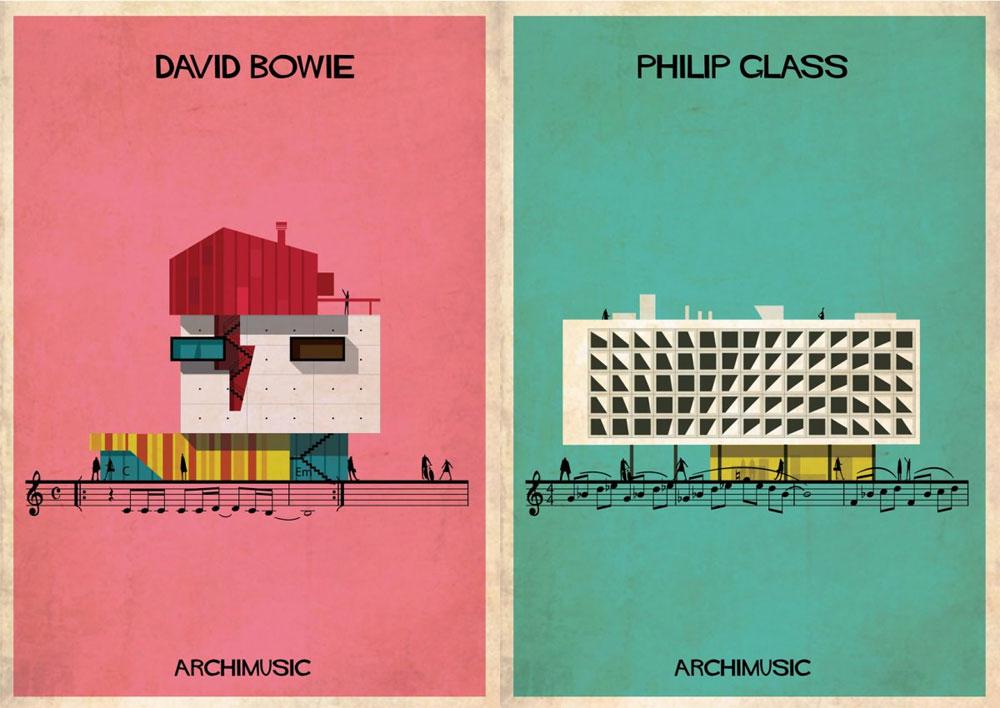 מתוך ''ארכימוסיקה'' - סדרת הפוסטרים של האדריכל פדריקו בבינה, שאייר 27 שירים ויצירות של מוסיקאים שונים. גם בניין וגם שיר מורכבים שניהם מצורה ומקצב, הוא מסביר (עיצוב: Federico babina)